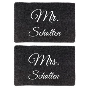 "Placemat-set ""Mr. & Mrs."""